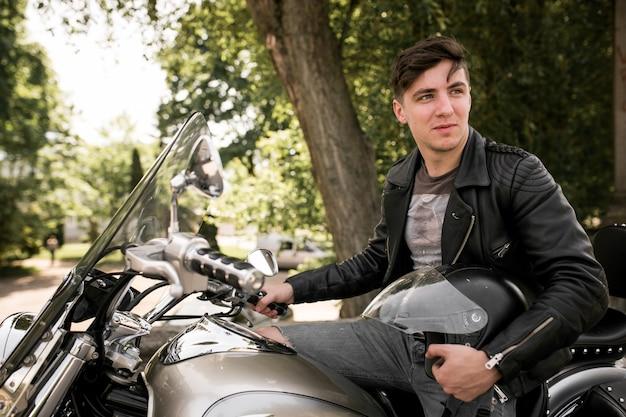 Veste de moto en cuir adulte biker