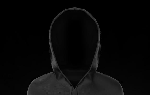 Veste noire à capuche avec un tracé de détourage isolé sur fond noir.