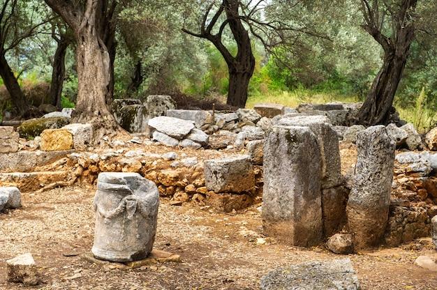 Les vestiges d'une ancienne cité carienne sur l'île de sedir. mugla, turquie