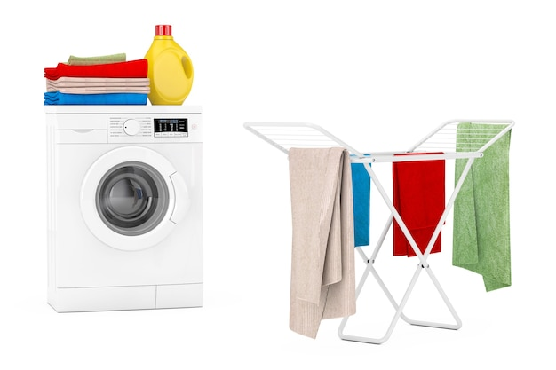 Vêtements sur un séchoir à linge en métal pliant blanc près d'une machine à laver moderne blanche avec une bouteille de détergent et une pile de vêtements sur fond blanc. rendu 3d