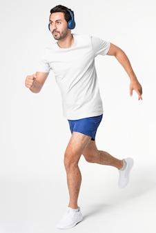 Vêtements de sport pour hommes shorts de course bleus