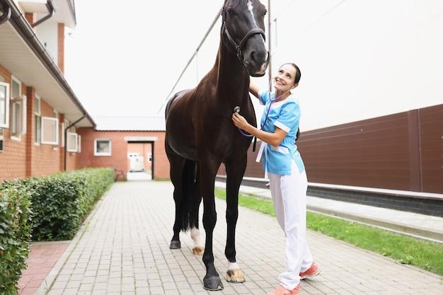 Le vétérinaire féminin de sourire écoute le bavardage de cheval avec le stéthoscope fournissant des soins médicaux à