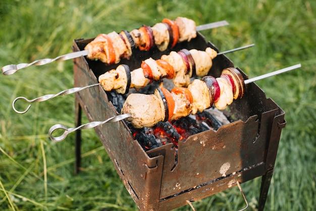 Viande sur le barbecue dans la nature