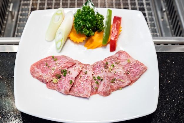 Viande de bœuf wagyu de première qualité crue