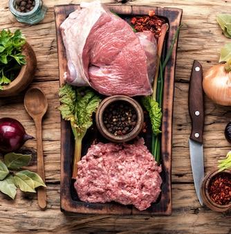 Viande hachée crue
