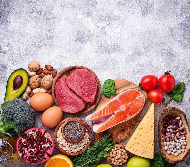 Viande, poisson, légumineuses, noix et légumes.