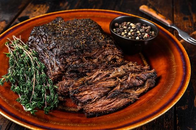 Viande de poitrine de bœuf wagyu fumée au barbecue