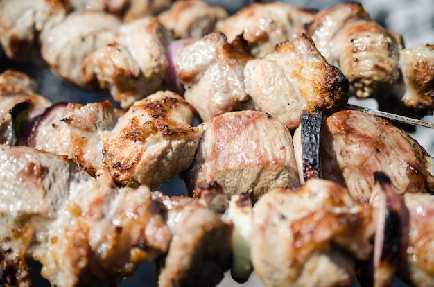Viande de porc grillée bouchent