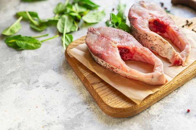 Viande de pulpe blanche poisson steak carpe argentée fruits de mer crus alimentation saine