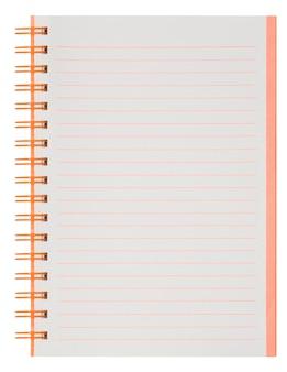 Vide. cahier à spirale papier isolé sur blanc