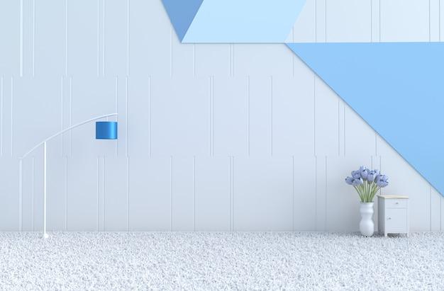 Vide chambre blanc-bleu, mur bleu, tulipe, lampe, tapis. noël, nouvel an. rendu 3d