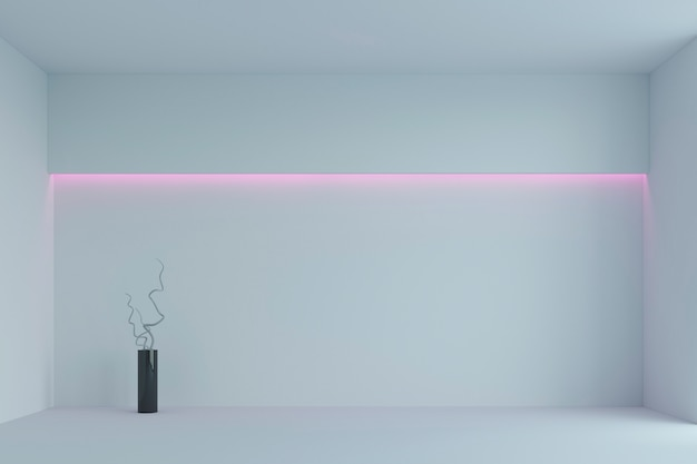 Vide chambre minimaliste blanche avec rétro-éclairage rose. rendu 3d