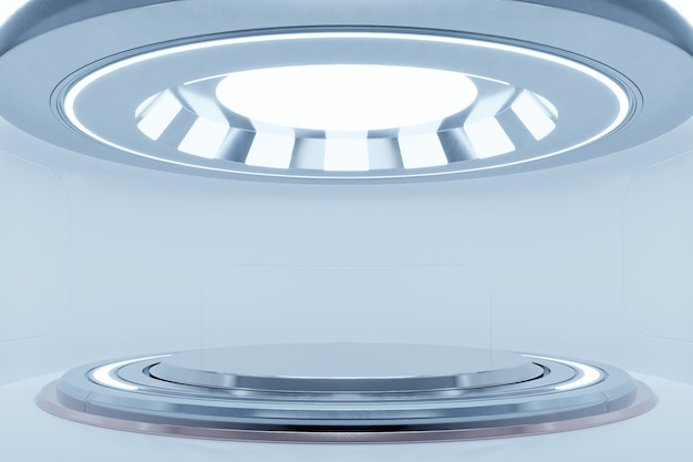 Vide lumière blanche studio salle futuriste sci fi grande salle avec des lumières blanches`` rendu 3d