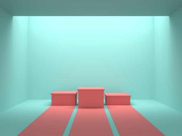 Vide pastel rose podium des gagnants dans la chambre de couleur verte avec la lumière du plafond