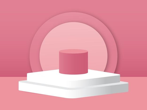 Vide podium studio 3d rendu vectoriel concept minimal couleur rose tendre de fond pour les produits