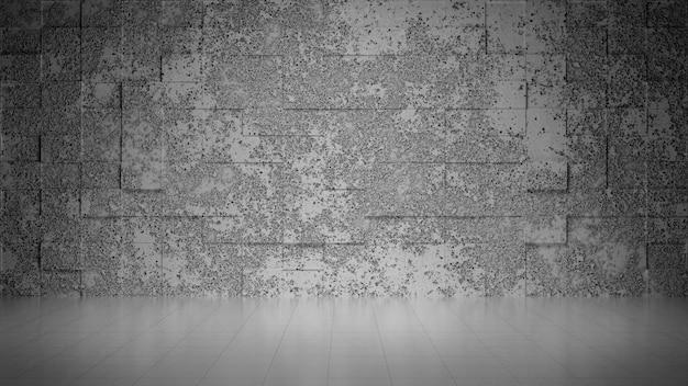 Vide salle de béton gris avec mur abstrack