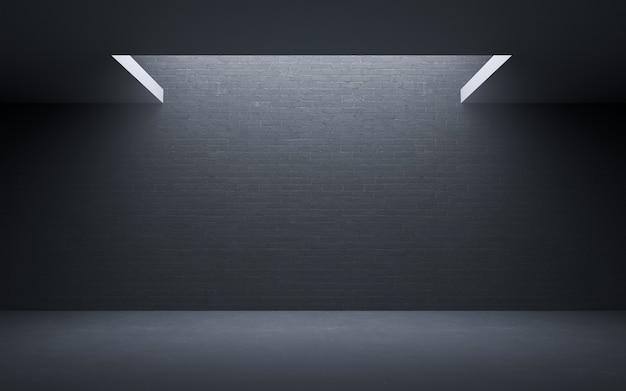 Vide salle de briques de béton grunge avec décorer des lumières. rendu 3d