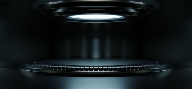 Vide salle de studio bleu clair futuriste sci fi grande salle avec des lumières bleues