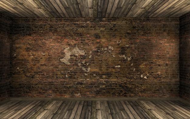 Vide vieille chambre abandonnée sombre avec vieux mur de briques fissuré