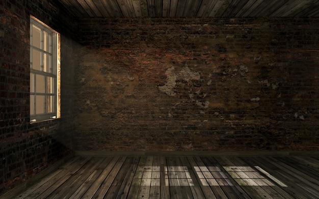 Vide vieux abandonné chambre et vieux mur de briques fissuré