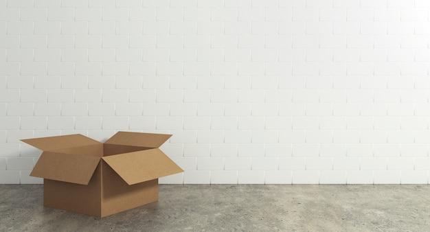 Videz la boîte en carton ouverte sur le sol avec une surface murale. concept de déménagement et d'expédition