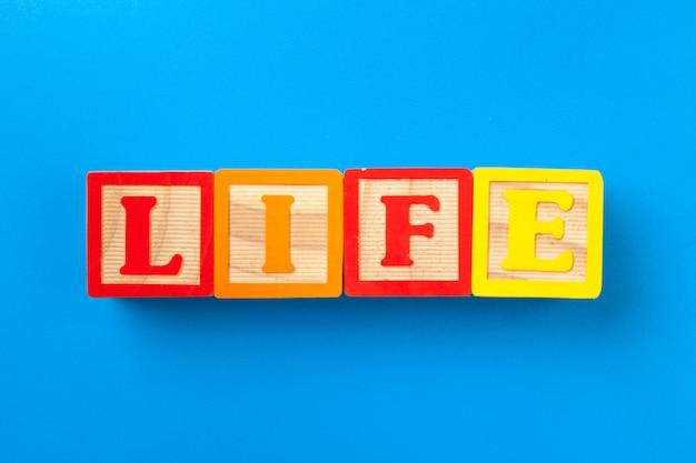 La vie. blocs d'alphabet en bois coloré
