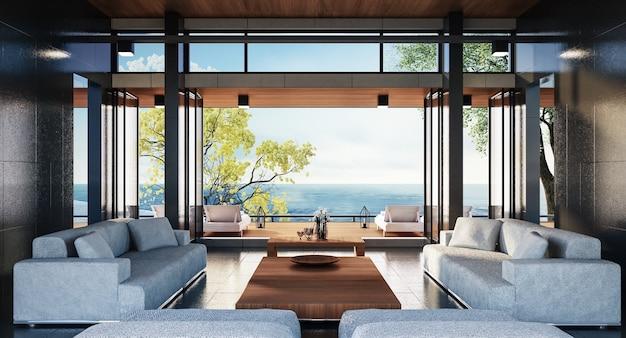 Vie de luxe sur la plage avec vue sur la mer / rendu 3d