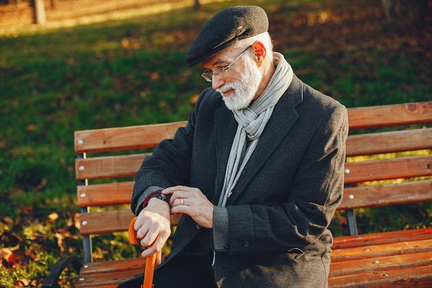 Vieil homme élégant dans un parc d'automne ensoleillé