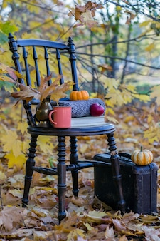 Vieille chaise, une valise, un livre, des citrouilles orange, une pomme rouge et une tasse orange dans les feuilles d'automne