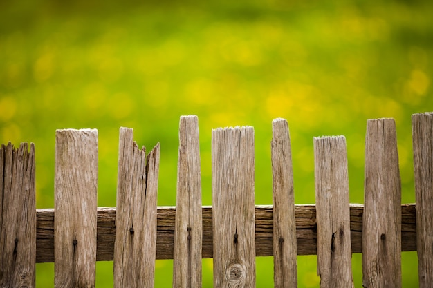 Vieille clôture en bois dans le jardin