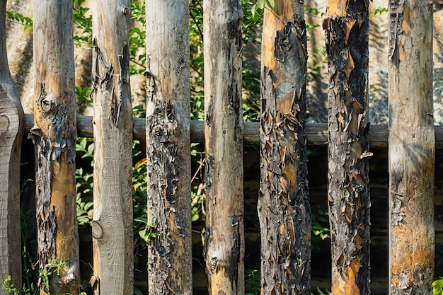 Vieille clôture pourrie clôturant le jardin. texture des planches