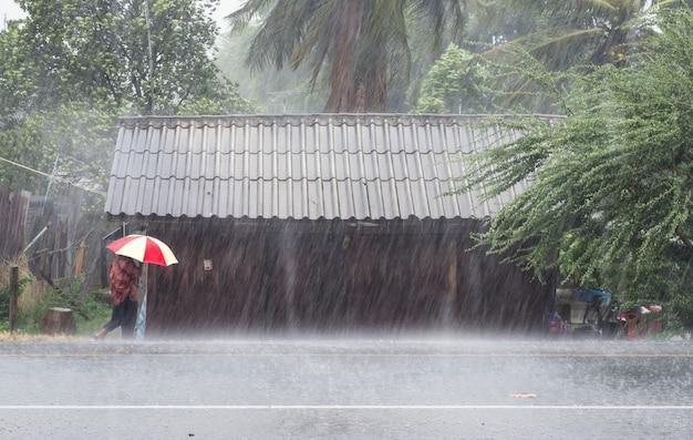 Vieille femme tenant un parapluie devant une maison en bois
