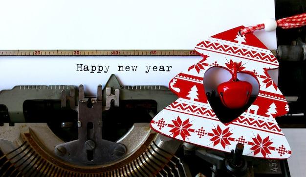 Vieille machine à écrire bonne année