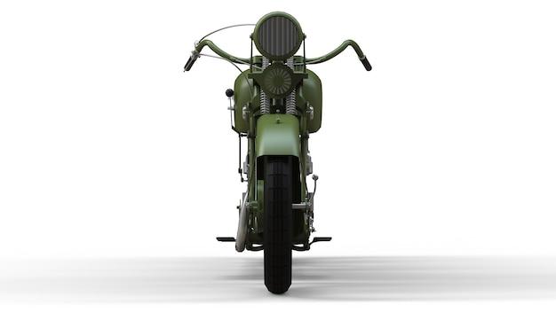 Une vieille moto verte des années 30 du 20ème siècle. une illustration sur un fond blanc avec des ombres d'un avion.