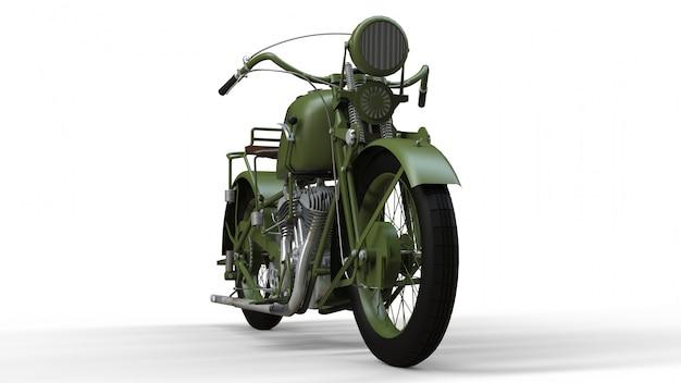 Une vieille moto verte
