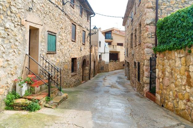 Vieille rue en ville avec route et bâtiments en pierre