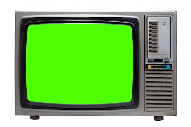 Vieille télé rétro avec écran vert isolé sur blanc