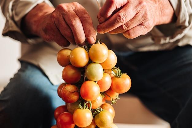 La vieille tradition de suspendre les tomates cerises au mur pour les préserver