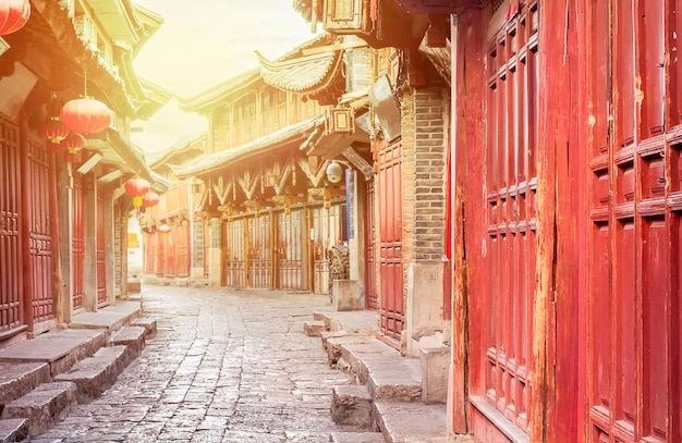 Vieille ville chinoise le matin, lijiang yunnan, chine