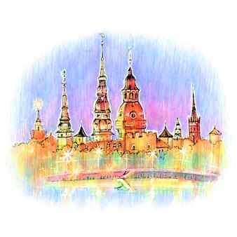 Vieille ville de nuit, riga, lettonie