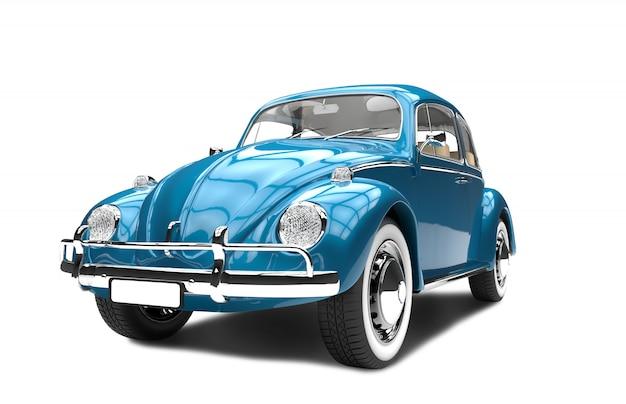 Vieille voiture bleue générique sur blanc