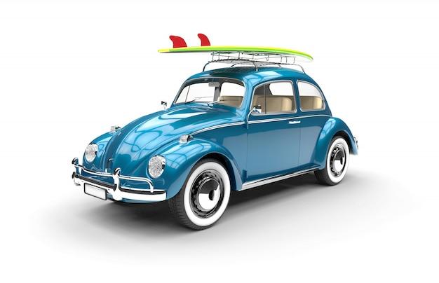 Vieille voiture bleue avec planche de surf