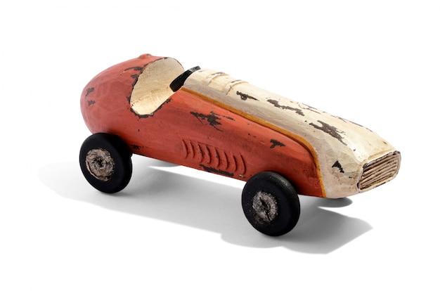 Vieille voiture de course en bois vintage