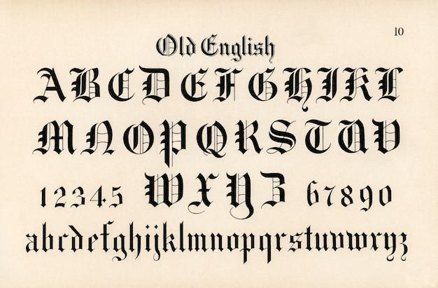 Vieilles polices de calligraphie anglaise des alphabets du dessinateur de hermann esser