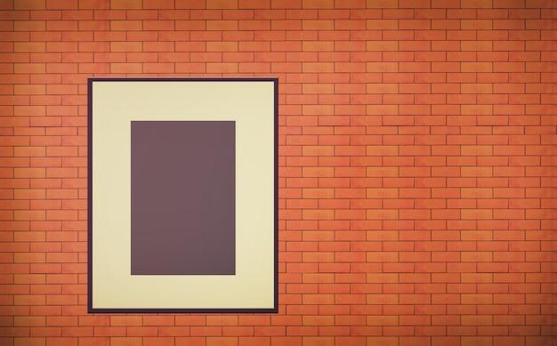 Un vieux cadre photo vide sur le mur de briques