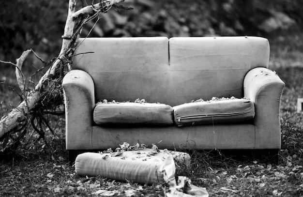 Vieux canapé avec des feuilles