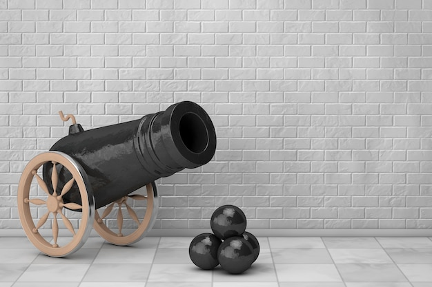 Vieux canon de pirate devant le mur de briques. rendu 3d