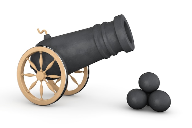 Vieux canon pirate sur fond blanc