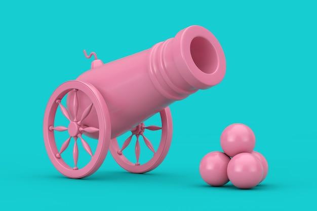 Vieux canon de pirate rose avec des boulets de canon duotone sur fond bleu. rendu 3d