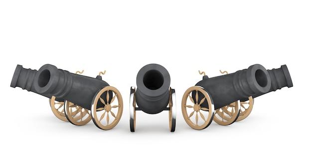 Vieux canons pirates sur fond blanc
